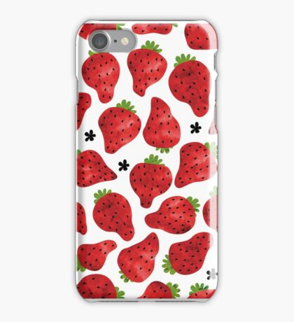 Strawberry on white iPhone Case/Skin