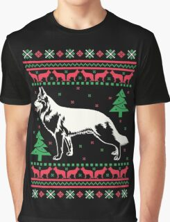 German Shepherd Ugly Christmas Sweater Graphic T-Shirt