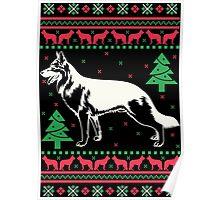 German Shepherd Ugly Christmas Sweater Poster