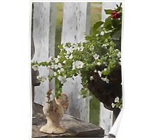 Chicken And Urn Garden Setting  Poster