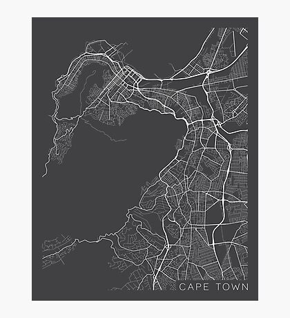 Cape Town Map, South Africa - Gray Photographic Print