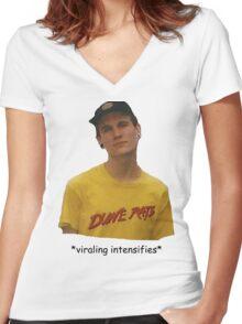 *viraling intensifies* Women's Fitted V-Neck T-Shirt