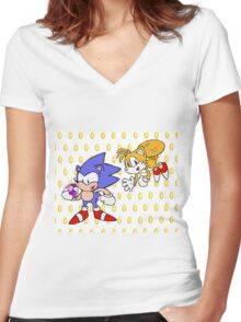 Sonic and Tails Women's Fitted V-Neck T-Shirt