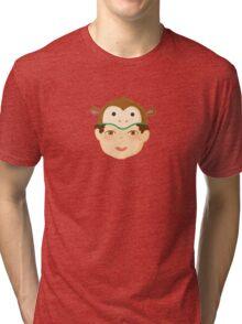 Kids With Animal Beanie - Monkey Tri-blend T-Shirt