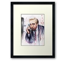 Nicolas Cage | A Vampire's Kiss | Watercolor Painting Framed Print