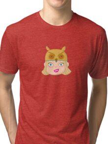 Kids With Animal Beanie - Owl Tri-blend T-Shirt