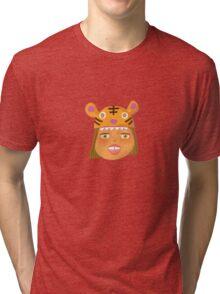 Kids With Animal Beanie - Tiger Tri-blend T-Shirt