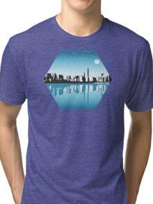 Cityscape, Skyline, Metro, Night Tri-blend T-Shirt