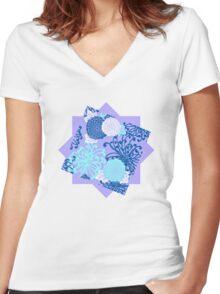 Flower Pattern, flowers in aqua, blue, violet, white Women's Fitted V-Neck T-Shirt
