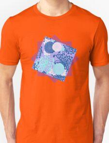 Flower Pattern, flowers in aqua, blue, violet, white Unisex T-Shirt