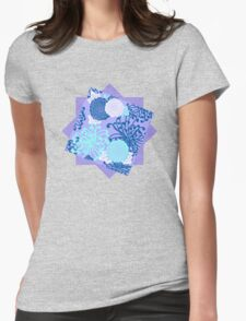 Flower Pattern, flowers in aqua, blue, violet, white Womens Fitted T-Shirt