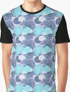 Flower Pattern, flowers in aqua, blue, violet, white Graphic T-Shirt