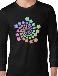 Groovy Flower Spiral - Retro 60s - Vintage 1960s - Rainbow Long Sleeve T-Shirt
