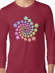 Groovy Flower Spiral - Retro 60s - Vintage 1960s - Rainbow Long Sleeve T-Shirt