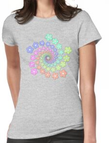 Groovy Flower Spiral - Retro 60s - Vintage 1960s - Rainbow Womens Fitted T-Shirt