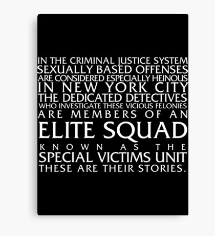 Law and Order:SVU Special Victims Unit Introduction Dick Wolf Classic Canvas Print