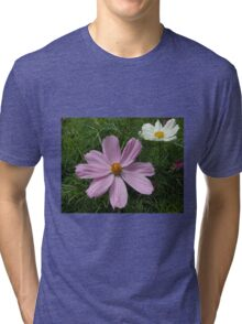 Pink and White Cosmo Flowers Tri-blend T-Shirt