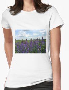 Pink flower field Womens Fitted T-Shirt