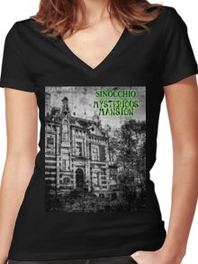 Official SINOCCHIO Mysterious mansion tshirt Women's Fitted V-Neck T-Shirt