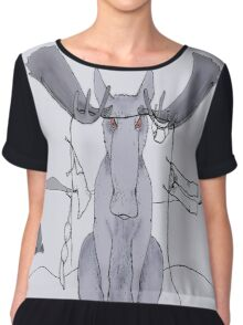Angry Moose Stuck In A Clothesline Chiffon Top