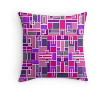 Bold, Abstract Geometric Design in Purple and Pink Throw Pillow