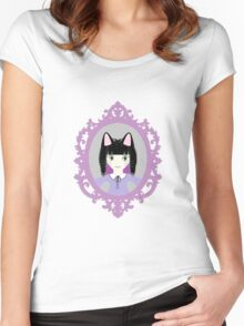 Kawaii Cat Cosplay Girl Women's Fitted Scoop T-Shirt