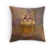 Steampunk Mechanical Owl Throw Pillow
