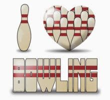 I love bowling - pins Kids Tee