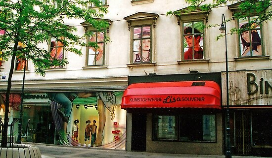 Shop Facade, Vienna, Austria (Panorama) by Margaret  Hyde