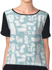 dogs - pale blue Chiffon Top