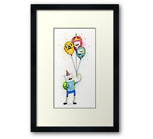 Finn with Birthday Balloons Jake Princess Bubblegum BMO Framed Print