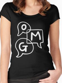 OMG Lettering Typography word expression  Women's Fitted Scoop T-Shirt