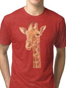 Watercolor Portrait of Giraffe Tri-blend T-Shirt