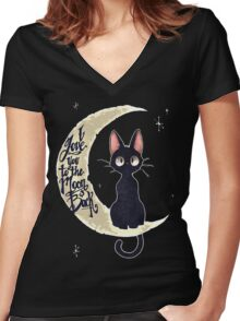I Love you to the moon black Women's Fitted V-Neck T-Shirt