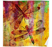 Mauritius Vintage Dragonflies Poster