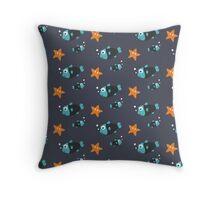Blue fish and starfish   Throw Pillow