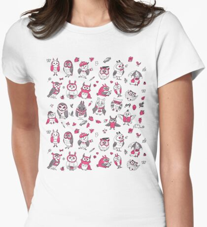 Little owlets pattern pink Womens Fitted T-Shirt