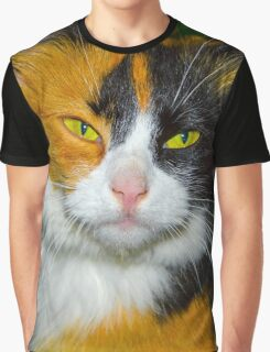 Red-black-and-white cat Graphic T-Shirt