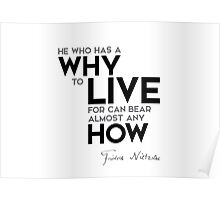 why to live, bear almost any how - nietzsche Poster