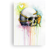 Jake the Dog Holding Skull Adventure Watercolor Art Canvas Print