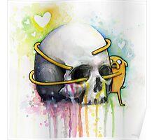 Jake Hugging Skull Adventure Art Watercolor Poster