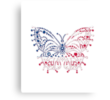 American Patriotic Dots *Butterfly Flag  Canvas Print