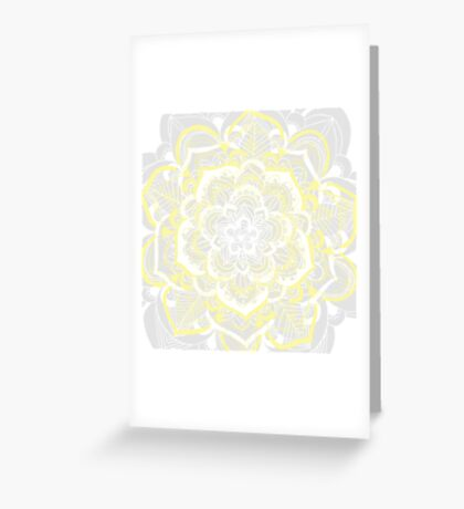 Woven Fantasy - Yellow, Grey & White Mandala Greeting Card