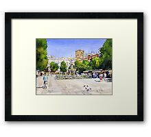 The Square in Summer - Plaza Bib Rambla, Granada, Spain Framed Print