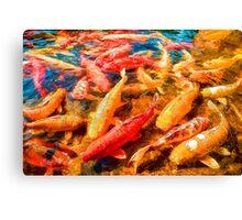 """Koi Fish Pond"" Canvas Print"
