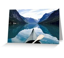 Norway canoe in fjord Greeting Card