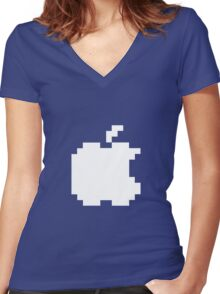 Apple pixel Women's Fitted V-Neck T-Shirt