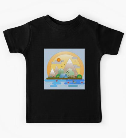 Mountain camp by a lake Kids Tee