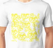 seamless background of cut across a lot of citrus fruits on white. Unisex T-Shirt
