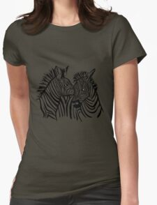 two zebras together Womens Fitted T-Shirt